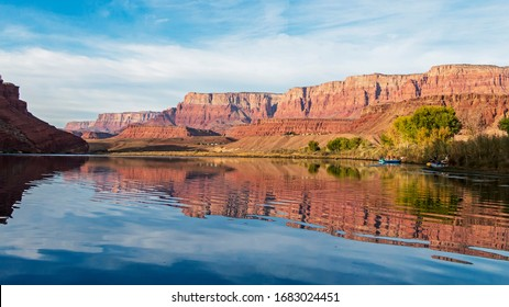 Stunning Colorado River mirror Reflection on water At Lees Ferry, Arizona