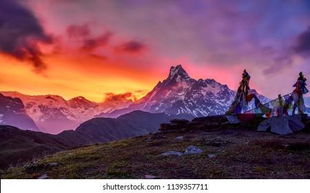Stunning colorful sunrise view of  Mardi Himal Machapuchare tail peak in Nepal