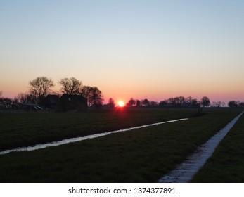 stunning coloured sunrise in Groningen