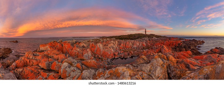 Stunning ,colourful ,spring sunrise over Eddystone Point Lighthouse.Eddystone Point,Bay of Fires Conservation Area.Mount William National Park.North Eastern Tasmania ,Australia.