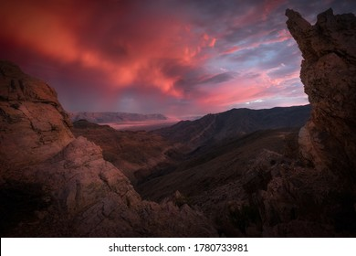 Stunning crimson sunset in Death Valley, CA