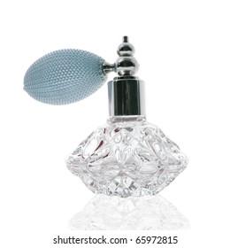 Stunning cut glass perfume atomizer on white