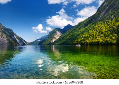 Stunning deep green waters of Konigssee, known as Germany's deepest and cleanest lake, located in the extreme southeast Berchtesgadener Land district of Bavaria, near the Austrian border.