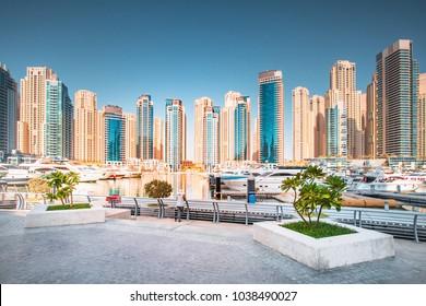 Stunning Dubai cityscape, United Arab Emirates. Residential district in Dubai.