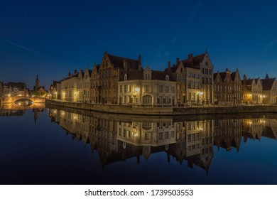 Stunning dusk on a canal in Bruges