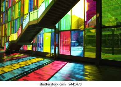 Stunning effect of light shining through stained glass