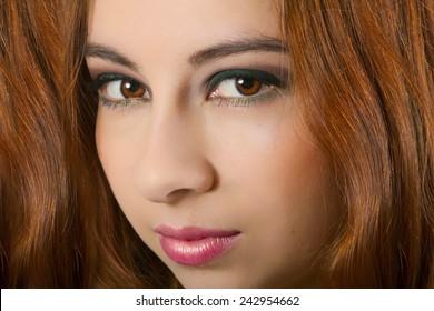 Stunning Female Model With Long Wavy Auburn Hair