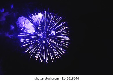 Stunning fireworks blue flowers on the night sky. Brightly fireworks on dark black color background. Holiday relax time with a pyrotechnic show. Festive event accompanied by holiday salves.