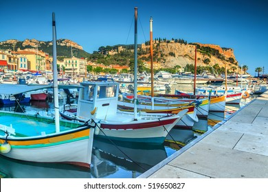 Stunning fishing harbor with colorful boats in Cassis,Marseille,France,Europe