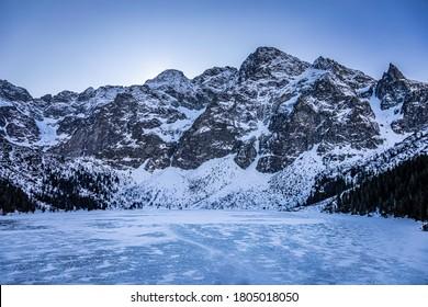 Stunning frozen Morskie Oko lake in Tatra mountain, Poland - Shutterstock ID 1805018050