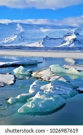 Stunning Glacier lagoon, Jokulsarlon, South Iceland