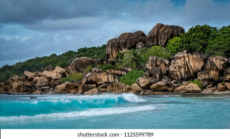 Stunning granite formations on the beautiful tropical island of La Digue, Seychelles.