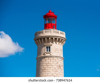 Stunning harbour of Sete with lighthouse in the south of France near the Mediterranean. Close-up