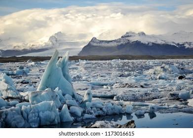 Stunning iceberg and ice mountain at Jokulsarlon Iceland