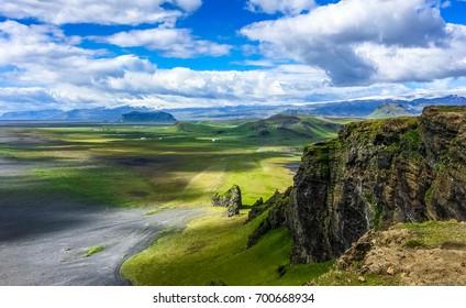 Stunning Icelandic Scenery of Dyrholaey in Summer.