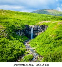 Stunning Icelandic Scenery of Svartifoss Waterfall in Skaftafell.