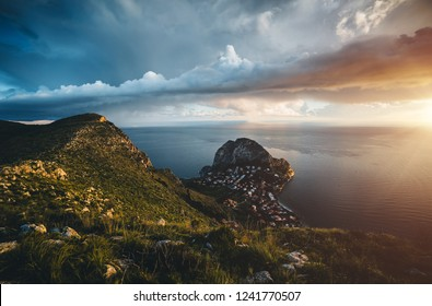 Stunning image of the dark overcast sky. Location place island Sicilia, Zafferano cape, Palermo sity, Italy, Europe. Mediterranean and Tyrrhenian sea. Climate change. Discover the beauty of earth.