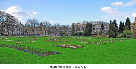 stunning Imperial Gardens in Cheltenham, United Kingdom (panoramic picture)