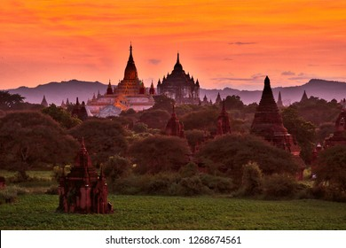 Stunning Landscape of Buddhist Temples in Myanmar Southeast Asia