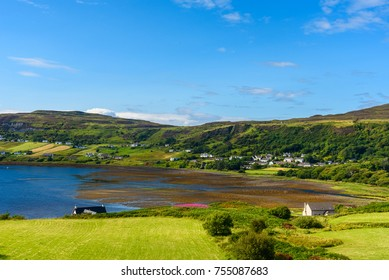 Stunning landscape of the lush nature of the Isle of skye in Scotland in summer.