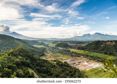Stunning landscape on the Bali island in Indonesia. Mt Agung, the island tallest volcano, is visible partly on the left. This is the countryside near the resort town of Candidasa.