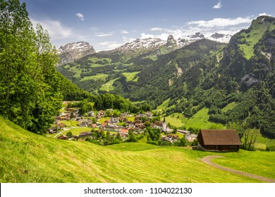 Stunning landscape panorama of Swiss Alps, Fronalpstock, Klingenstock and Chaiserstock and Illgau. Illgau is a village in Schwyz District in the canton of Schwyz in Switzerland, Europe.