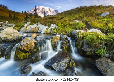 Stunning landscape of a small waterfall cascading in a pool of water at Mt. Rainier National Park
