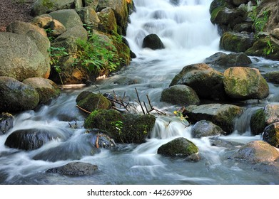 Stunning landscape of a small waterfall cascading in a pool of water
