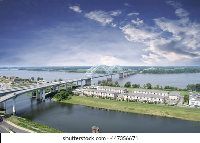 A stunning landscape view of the Hernando de Soto Bridge in Memphis, TN
