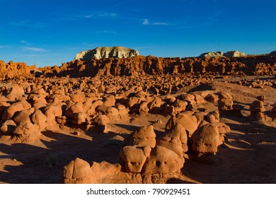 Stunning landscape view of the rock formations of Goblin Valley State Park in Utah USA