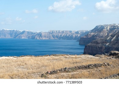 Stunning landscape with views of the island of Santorini, Greece in a summer day.