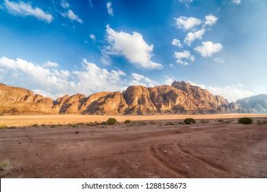 Stunning Landscape of Wadi Rum Desert, Jordan.