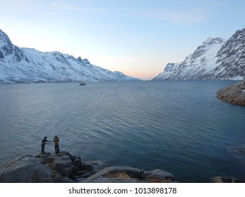 Stunning late afernoon winter view of northern Ersfjord, near Tromsø, Troms County, Norway. Brightest January light.