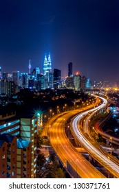 Stunning light trail scenery at the busy highway in Kuala Lumpur city at night, Malaysia, Asia