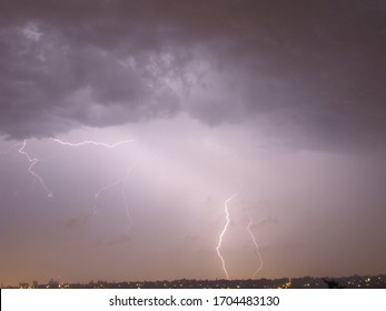 Stunning lighting thunder and storm weather