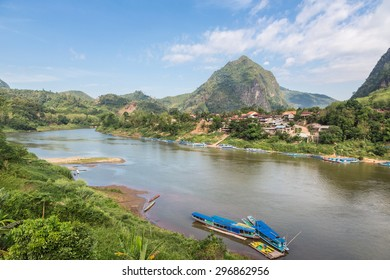 Stunning limestone landscape around the village of Nong Khiaw, by the Nam Ou river in the Luang Prabang province in North Laos