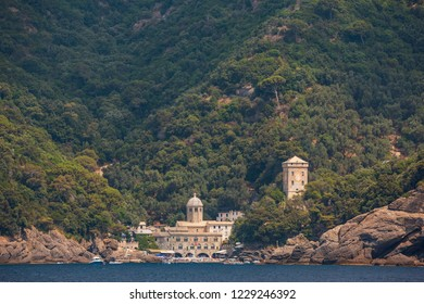 The stunning little town of San Fruttuoso near Camogli on the Ligurian coast, which can only be reached by ferry or by foot