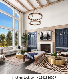 Stunning Living Room Interior in Luxury Home with Tall Ceilings with Wooden Beams, Fireplace, and Elegant Decor. Large Bank of Windows Shows Exterior View of Trees and Blue Sky.