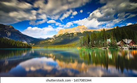 Stunning long exposure Emerald Lake Lodge in Summer