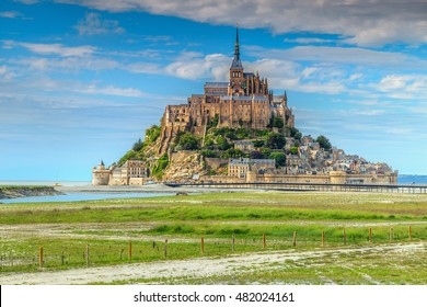 Stunning Mont Saint Michel cathedral on the island with modern bridge,Normandy,Northern France,Europe
