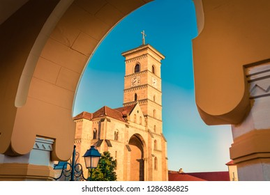 Stunning morning view of Reunification Cathedral, Fortified churches inside Alba Carolina Fortress. Splendid sunset in Transylvania, Alba Iulia city, Romania, Europe.
