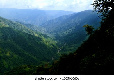 Stunning natural view of the  folded mountains and the beautiful gorges of the Cherapunji in the Indian state of Meghalaya, North East