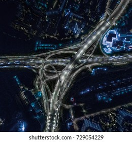 Stunning night aerial view of interchange of Moscow Ring Road (MKAD), made with drone.