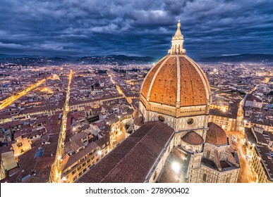 Stunning night aerial view of Piazza Duomo - Florence, Italy.