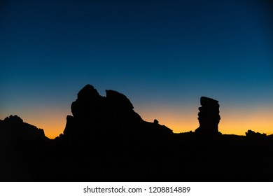 Stunning night view of the cliffs of Garcia Roques. Tenerife. Canary Islands.