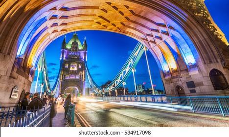 Stunning night view of Tower Bridge traffic, London - UK,