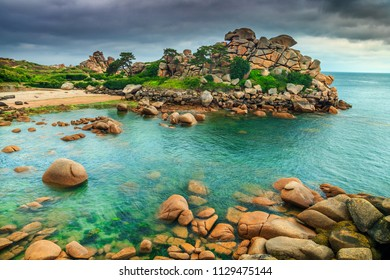 Stunning ocean coastline with colorful rocks and spectacular beach, Perros-Guirec, Brittany region, France, Europe