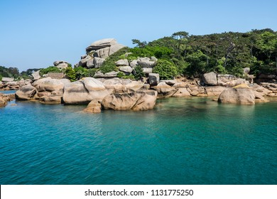 Stunning ocean coastline with colorful rocks and spectacular beach, Perros-Guirec, Tregastel, Saint Guirec, Chateau de Costaérès Brittany region, France, Europe