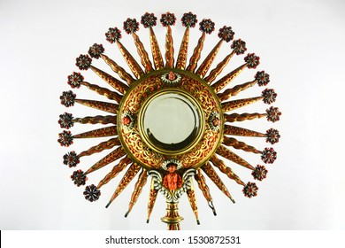 A stunning old precious artistic monstrance/ostensory richly decorated with red corals. Village of Mdina, Isle of Malta. Europe. Maltese Art.