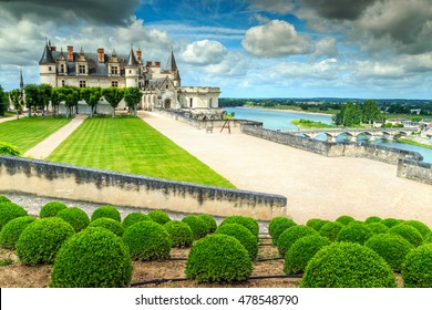 Stunning ornamental garden of Amboise castle in the Loire Valley,France,Europe